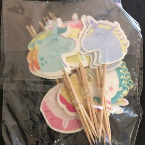 24 PC Pastel Colored Cupcake Toppers